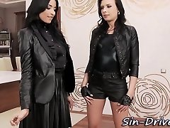 Leather dressed sluts suck