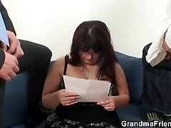 Two guys drill big boobs chubby mommy