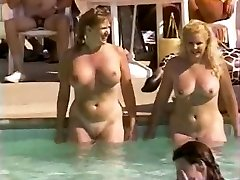 Hairy innate pussies at pool party