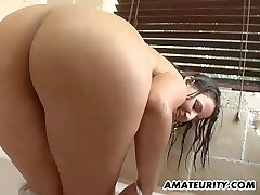 Very busty unexperienced girlfriend bathroom action