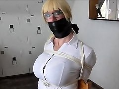 WSBP - Busty Female getting corded up and gagged!