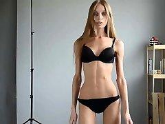 Utterly skinny girl in castings