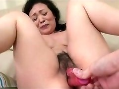 55yr senior Granny Kayoe Ozawa Splatters and Creamed (Uncensored)