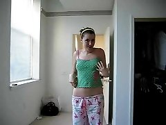 Teen undresses for cam