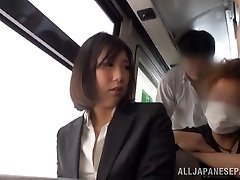 Super-hot office chick gets upskirt shots and a fucking