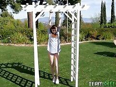 Sweet teenager in wet white leotard Ava Parker gets her vulva slammed