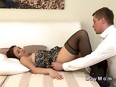 Unshaved brunette mature lady fucking in couch