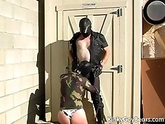 Masked guy slapped and mouth fucked