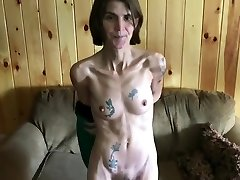 Skinny tattooed wife demonstrating her hairy pussy compilation