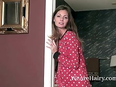 Vanessa Pubic Hair slides off her pajamas to have joy