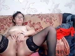Mature in glasses on webcam naked.