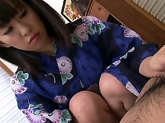 Sweet Asian bitch in sexy kimono pleases her stud with nice Oral Pleasure in rubdown parlor