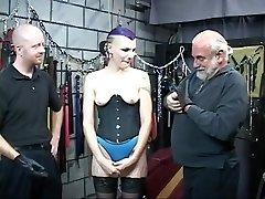 Hawt S&M emo hottie receives gazoo spanked with spiked paddle untill bloody by 2 chaps