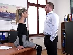 French skinny assistant Ciara Riviera is fucked right on the boss' table