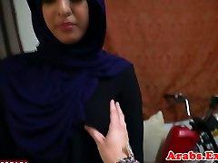 Hijab muslim fledgling doggystyled on camera
