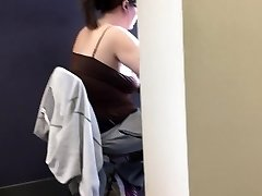 20yr senior braless round in the library