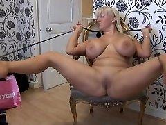 Big boob blonde in mini skirt and pantyhose disrobing