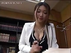 Asian assistant gives one of her coworkers a super-cute afternoon handjob