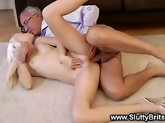 Light-haired babe gets hot elder guy fucking and loves it