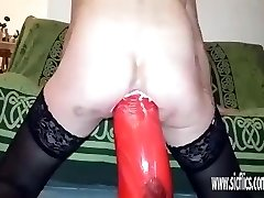 Insanely huge anal dildo fucked fledgling