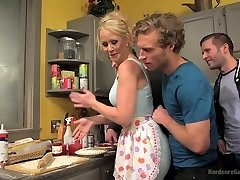 Spoiled son-in-law and his sassy friends fuck big tittied stepmother Simone Sonay