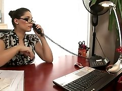 Hot platinum-blonde and brown-haired office sluts fuck on a desk