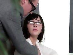 Brunette Schoolgirl With Glasses