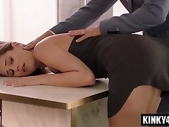 Black-haired cowgirl spanking and creampie