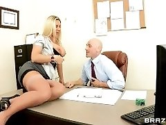 Thick-breast lingerie clothed secretary Devon Lee fucks her boss at work