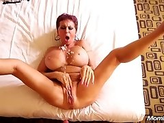 Busty Euro GILF squirts on a young wood