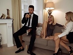 LOS CONSOLADORES - Erotic FFM threeway with Karina Grand