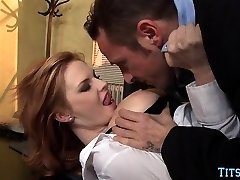 Ginger-haired Babe gets Dick at Office