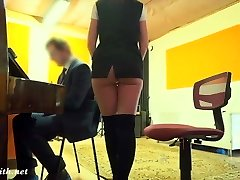 Crazy Teacher with no panties prank with a real college girl