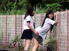 Asian nubiles outdoors urinate