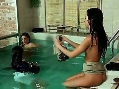 Very mind-blowing young babes in the pool