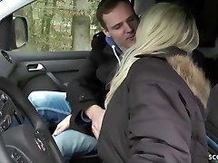GERMAN MOTHER JULIA Tempt YOUNG Stud HITCHER TO FUCK IN CAR