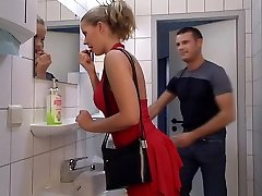Female in Red gets her ass fucked in Toilet. Swallow