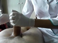 Nurse rips stocking and sits on patient's knob