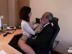 I am a young secretary seducing my chief at the office begging for sex