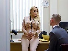 Big-titted bombshell boss turns a virgin into a bad man