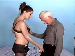 old man and young woman strap dildo