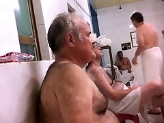 Father Shaving In Bath House