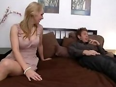 Busty Mommy With Youthful Boy in Bedroom