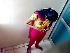 Indian coed girls get caught on tape using the university wc