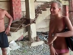 Jennifer in outdoor sex movie with a couple smashing on a beach