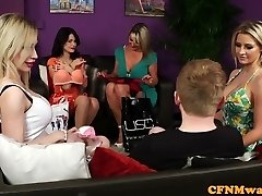 Bigtitted british femdoms tug marionette in group