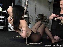 Held bondage babe Elise Graves lesbian