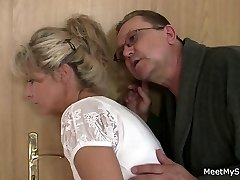 She spreads her gams for his older parents