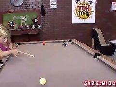 Ugly midget playing pool