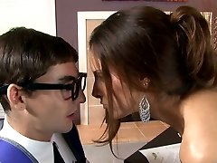 Busty raven haired sweetie blows smelly cock of her young teacher voraciously